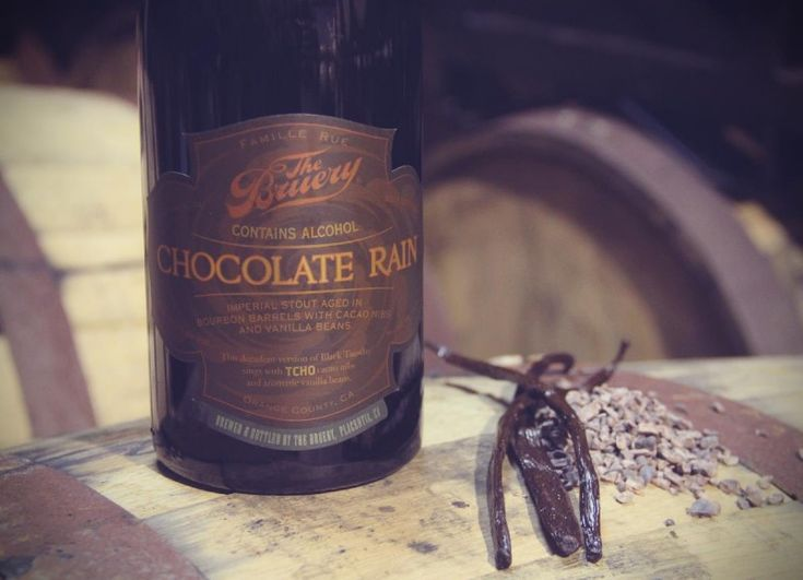 "Chocolate Rain is a decadent bourbon barrel-aged imperial stout, featuring cacao nibs from TCHO and fresh vanilla beans.     Rich in chocolate, vanilla, oak and bourbon, it truly puts the ""imperial"" in imperial stout."