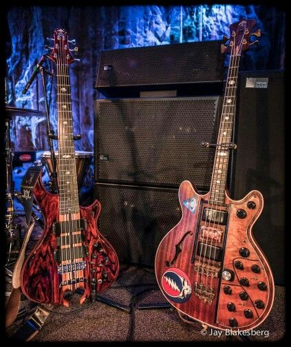 Old and new, Phil Lesh's Bass Guitars - Grateful Dead. After a couple of decades playing a 4 string bass, Phil switched to a 6 string bass. That's the equivalent of a piano player adding 44 more keys to his piano. Amazing.