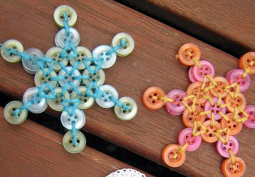 Cute way to use up old buttons...Might be fun for kids to learn too.