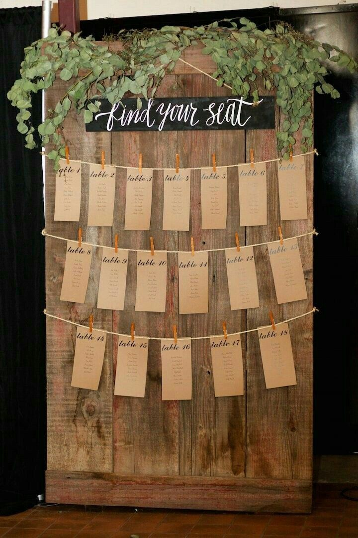 Rustic Greenery Wedding Seating Arrangement Chart // escort cards