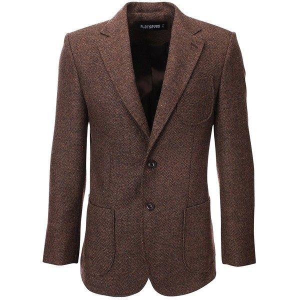 FLATSEVEN Mens Herringbone Wool Blazer Jacket with Elbow Patches ($150) ❤ liked on Polyvore featuring men's fashion, men's clothing, men's sportcoats, men's apparel, mens wool blazer, mens clothing, mens blazers and mens herringbone blazer