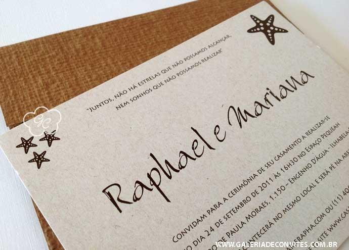 modelo 66: convite para casamentos na praia, com detalhe de concha - Galeria de Convites