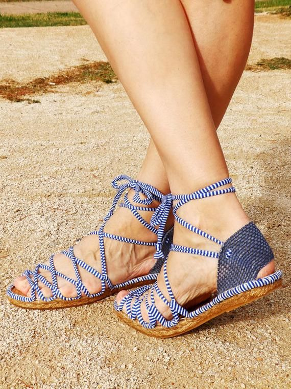 cf12451ea Greek navy espadrilles sandals with blue heel Sailor striped fabric ...