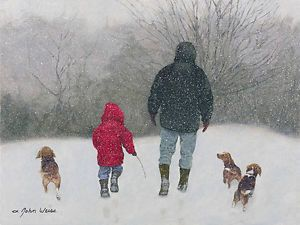 """Beagle Buddies by John Weiss LIMITED EDITION CANVAS Image size: 12""""w x 9""""h. Limited Edition of: 150 $225.00 issue - Sold out print for $175.00 Still in original wrapping. I accept paypal, cash and e-transfer.  """"This painting reflects some of the things I enjoy. I love walking in snowstorms. The atmosphere, the sound and the beauty inspire me. I love to watch dogs in the snow, burrowing their noses and romping through the drifts. Watching children playing in the snow brings out the child in…"""