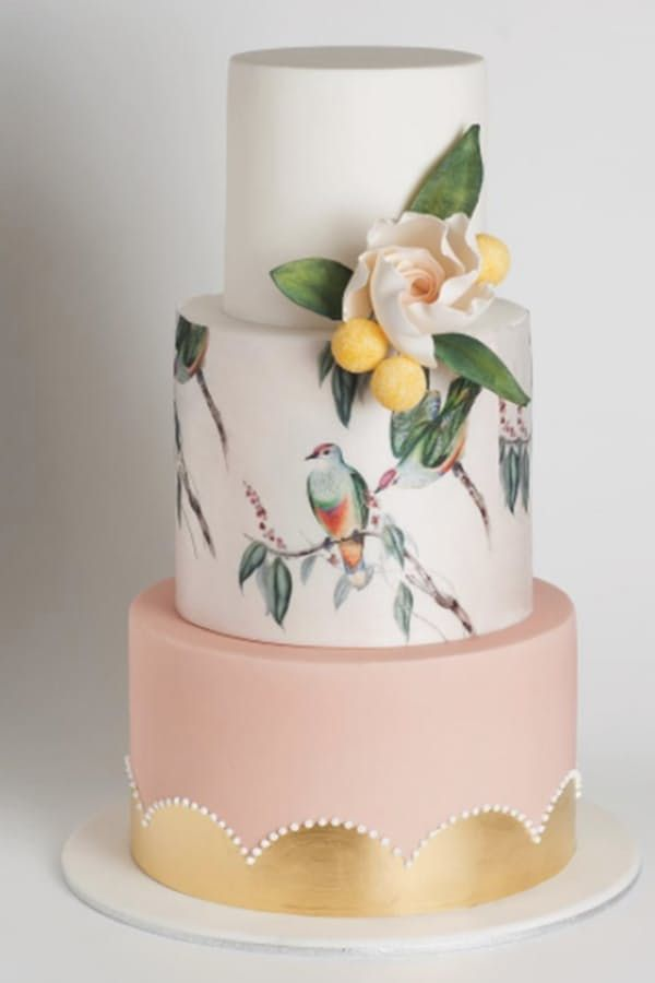 Watercolor Cakes Are the Next Big Wedding Trend via @PureWow - PAINTED BIRDS WEDDING CAKE (=)
