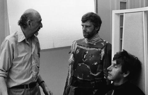 Jeremy Bulloch, Dave Prowse and Irvin Kershner on the set of Empire Strikes Back