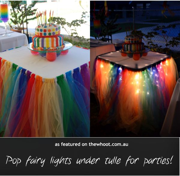 rainbow table with fairy lights and tulle
