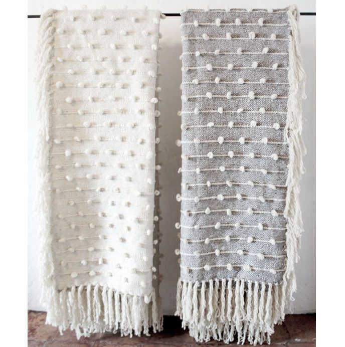 """Puff Blanket    The Puff blanket is made in the beautiful mountainous region of Central Mexico using the highest quality, pure virgin wool and cotton. The wool is left undyed, with natural shades of cream, grey, and black woven into the design. Even though this blanket is large in size it's light in weight.    Dimensions: 99.6""""x76.8"""" (Queen Size)"""