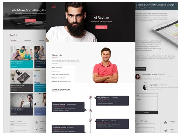 26 best 25 Free Resume PSD Website Template images on Pinterest - resume web template