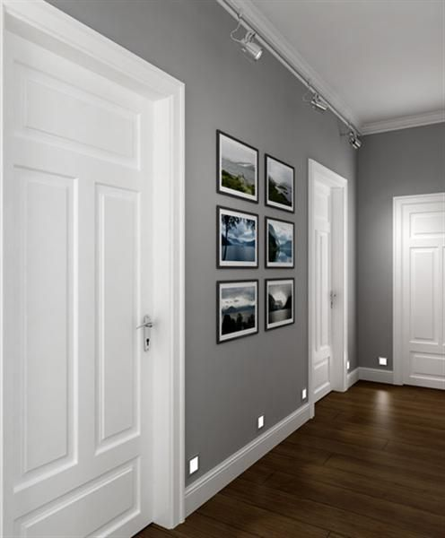 perfect corridor, grey walls, white doors, dark wooden floor