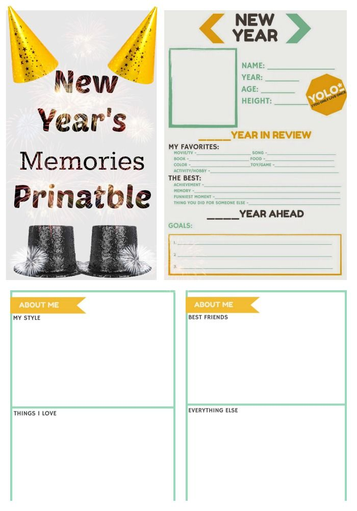 FREE New Year's Memories Printable. Make a time capsule by ringing in the New Year with a family New Year Memories Printable. A fun kids activity on New Year's Eve or day.:
