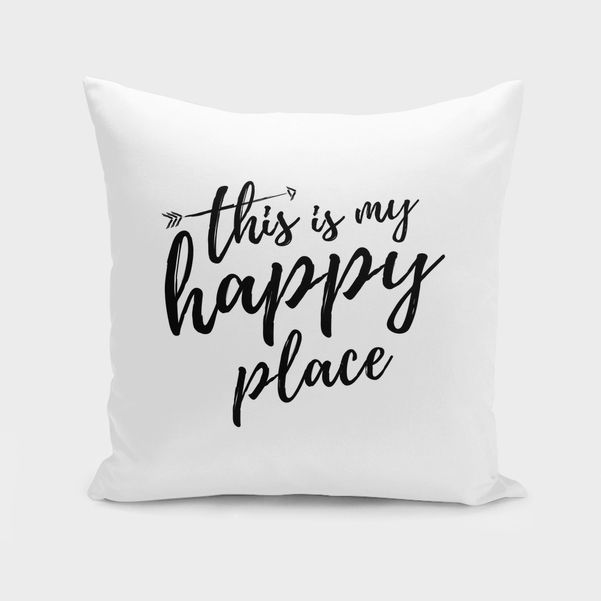 Discover «THIS IS MY HAPPY PLACE», Exclusive Edition Throw Pillow by Elina Koutsokera - From 27€ - Curioos