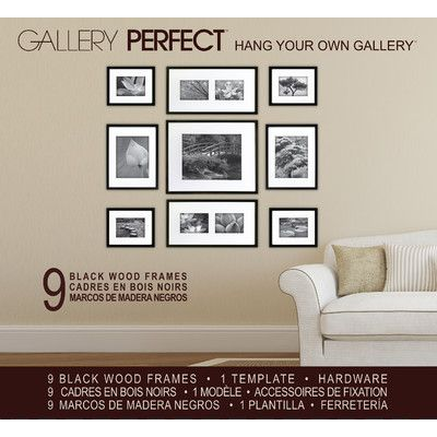 display your photos or art in style with this 9 piece black frame kit this kit will allow you to configure your own in home art gallery in whatever design