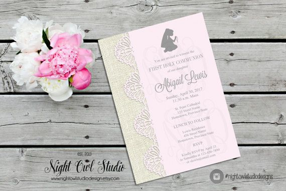 First Communion Invitation, First Holy Communion Invite, Girls Communion, Burlap, Pink, Printable
