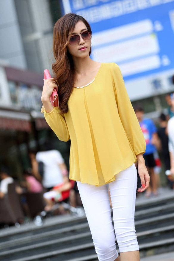 Hotsale New Fashion Women's Loose Chiffon Tops Long Sleeve Shirt Casual Blouse