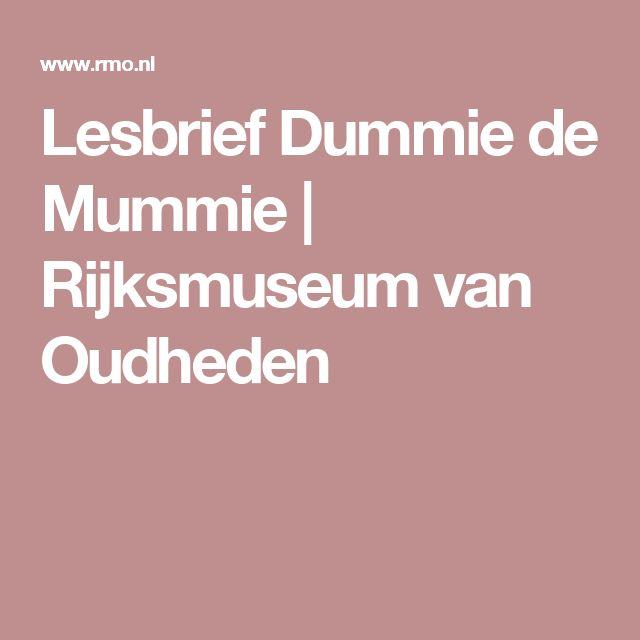 Lesbrief Dummie de Mummie | Rijksmuseum van Oudheden