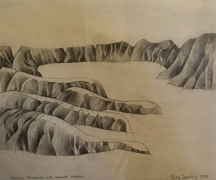Volcanic Peninsula with Drowned Harbour 1972 (Littleton NZ) by Shay Dcoking