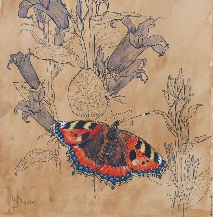 Купить картина Бабочка Крапивница на колокольчиках (графика) - картина, картина с цветами, картина для интерьера, цветы