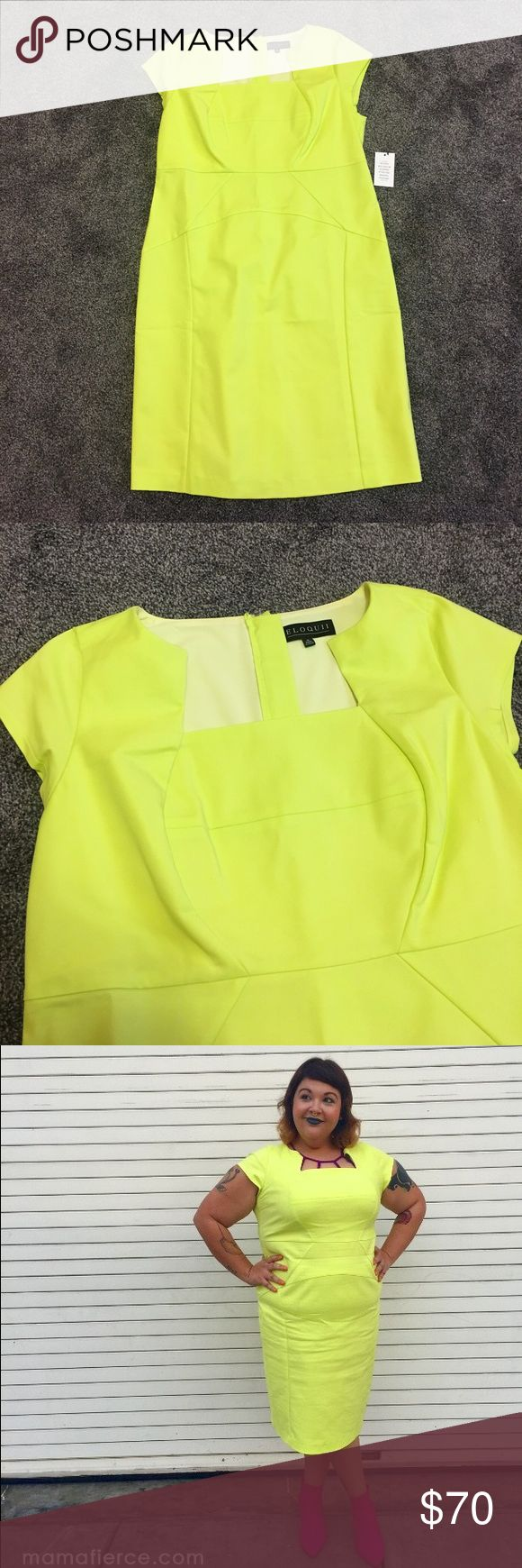 Neon yellow pencil dress Never worn! (This is not the same one I'm wearing in the picture.) Slight stretch. Zipper back. PERFECT CONDITION. Eloquii Dresses Midi