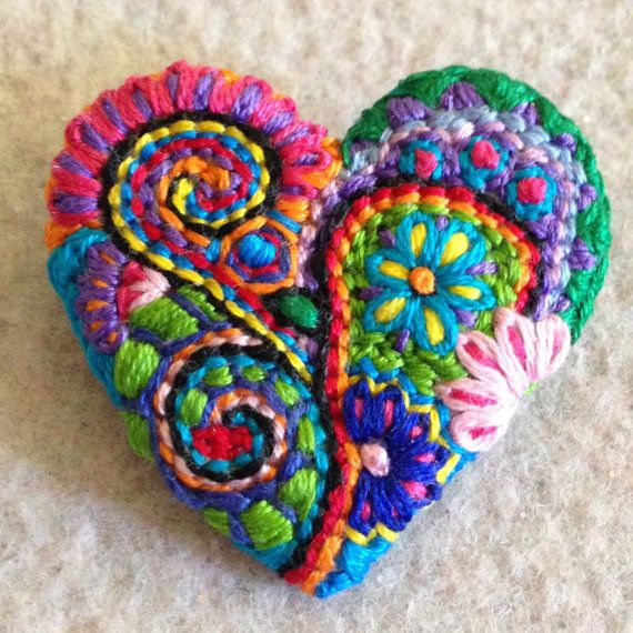 Freeform embroidery heart brooch bright floral by Lucismiles
