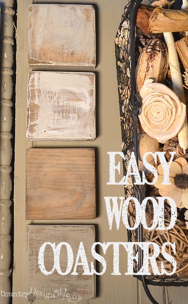 easy wood coasters http://countrydesignstyle.com #wood #coasters #easyDIY