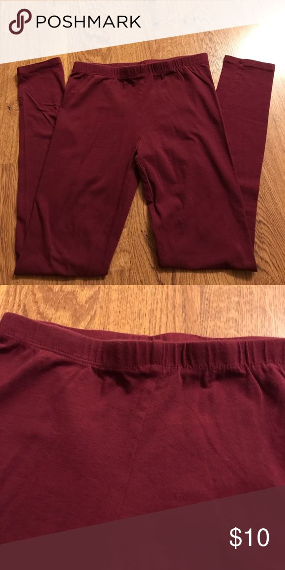 Maroon Leggings Simple maroon leggings with elastic waistband Ambiance Apparel Pants Leggings