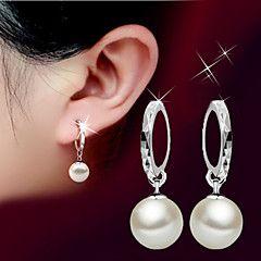 Orecchini a goccia Perle Pietre dei segni Di tendenza Classico Perla Argento sterling Palla Argento Gioielli PerMatrimonio Feste