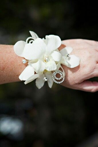 White dendrobium orchids with rhinestones wrist corsage for prom