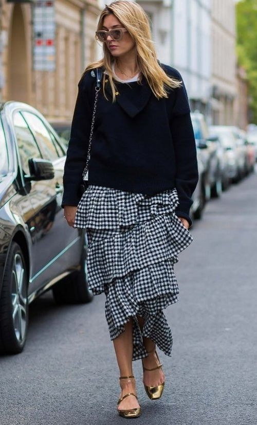 Camille Charrière in an Isa Arfen skirt. Street Style 2017. Checked shirt and thick chunky knit top.