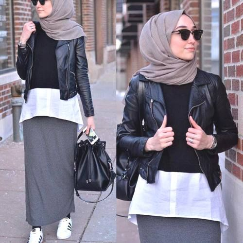 leather jacket hijab outfit- How to style Adidas shoes with hijab http://www.justtrendygirls.com/how-to-style-adidas-shoes-with-hijab/