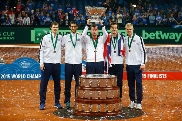 (L-R) Jamie Murray, James Ward, Leon Smith, Andy Murray and Kyle Edmund of Great Britain celebrate with the Davis Cup following victory on day three of the Davis Cup Final 2015 at Flanders Expo on November 29, 2015 in Ghent, Belgium.