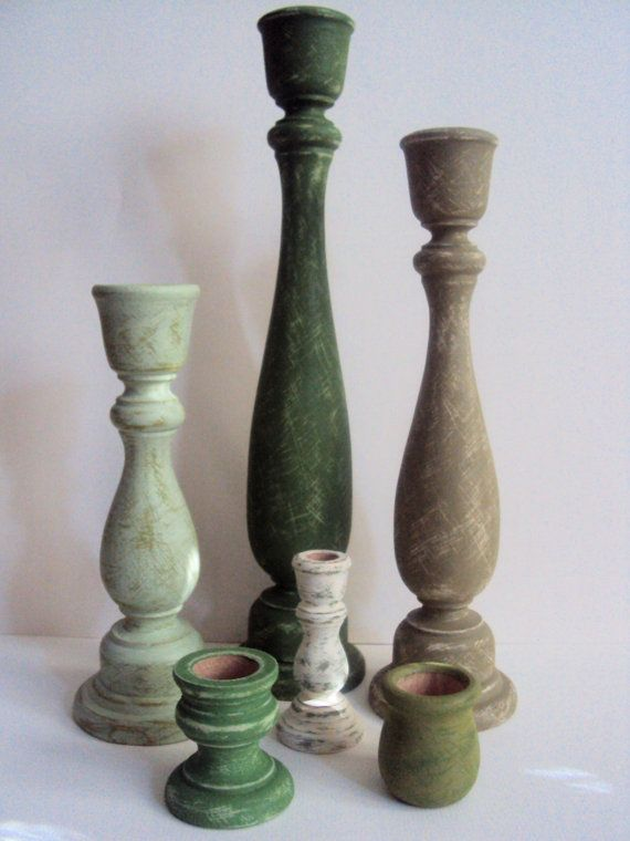 Shabby Chic Candle Holder Set - Rustic Green St. Patrick's Day Decor - Distressed Cottage Chic Candlesticks - Candle Sticks Centerpiece on Etsy, £36.29