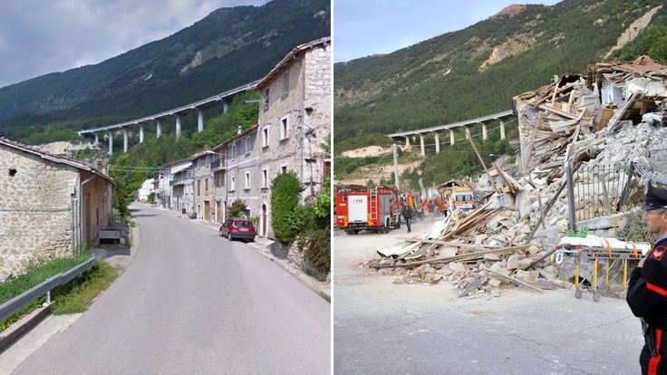 An image of some of the damage on the Via Salaria road in Pescara del Tronto…