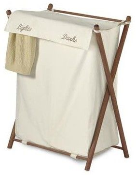 Double Sorter Folding Wood Hamper - contemporary - Hampers - Bed Bath & Beyond