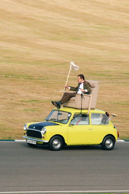 driving, funny, and yellow car image