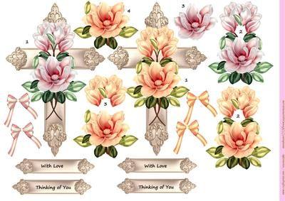 Cross Magnolia Blossoms on Craftsuprint designed by Marijke Kok - beautiful…