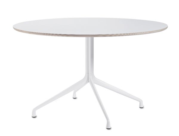 design Hee Welling and HAY Materials: Frame: 3 small legs Cast aluminium Powder coated black or white Table top: 23 mm plywood with linoleum or laminate With pl