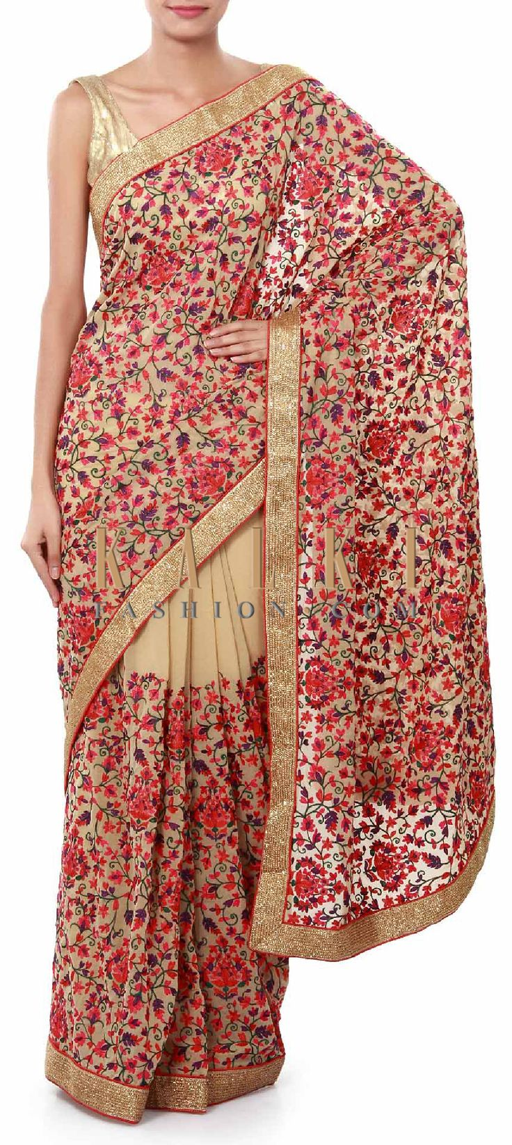 Buy Online from the link below. We ship worldwide (Free Shipping over US$100). Product SKU - 316752. Product Price - $159.00. Product link - http://www.kalkifashion.com/beige-saree-adorn-in-resham-embroidery-all-over-only-on-kalki.html
