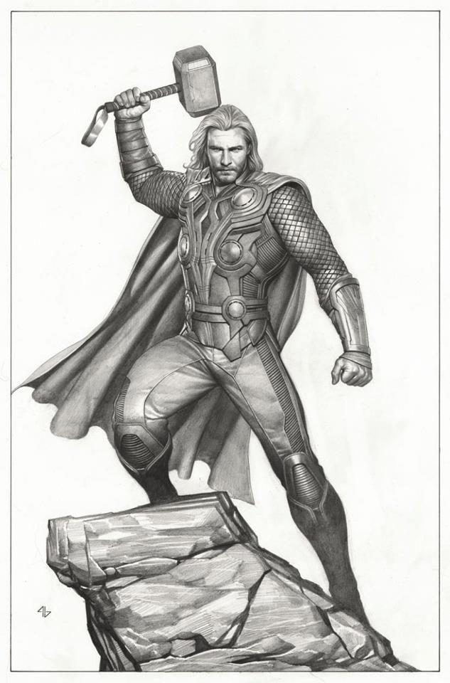 thor from adi granov  avengers drawings thor drawing