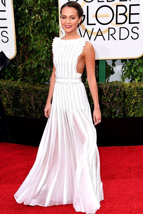 Alicia Vikander in a white Louis Vuitton dress at the 2016 Golden Globes - click ahead for more best dressed!