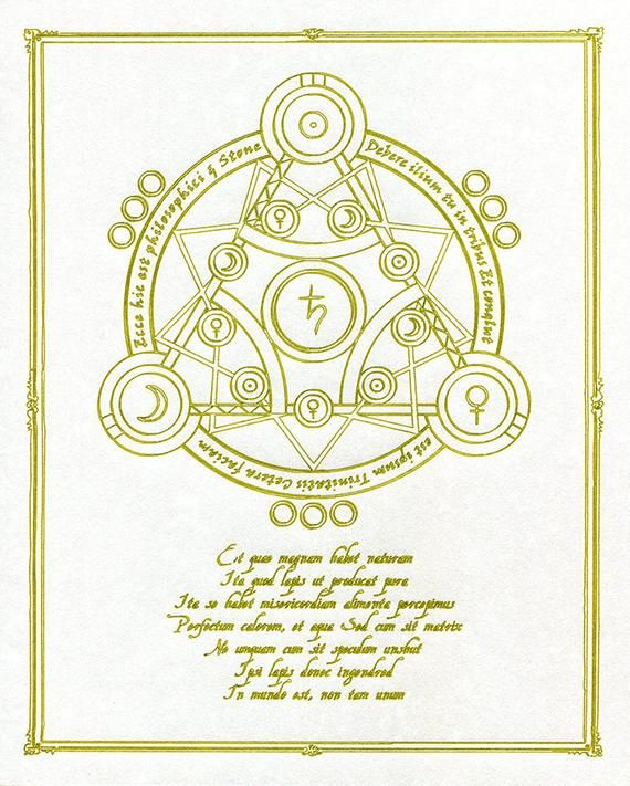 Alchemy Array No 6 Diagram Gold On Parchment Wall Art Chart