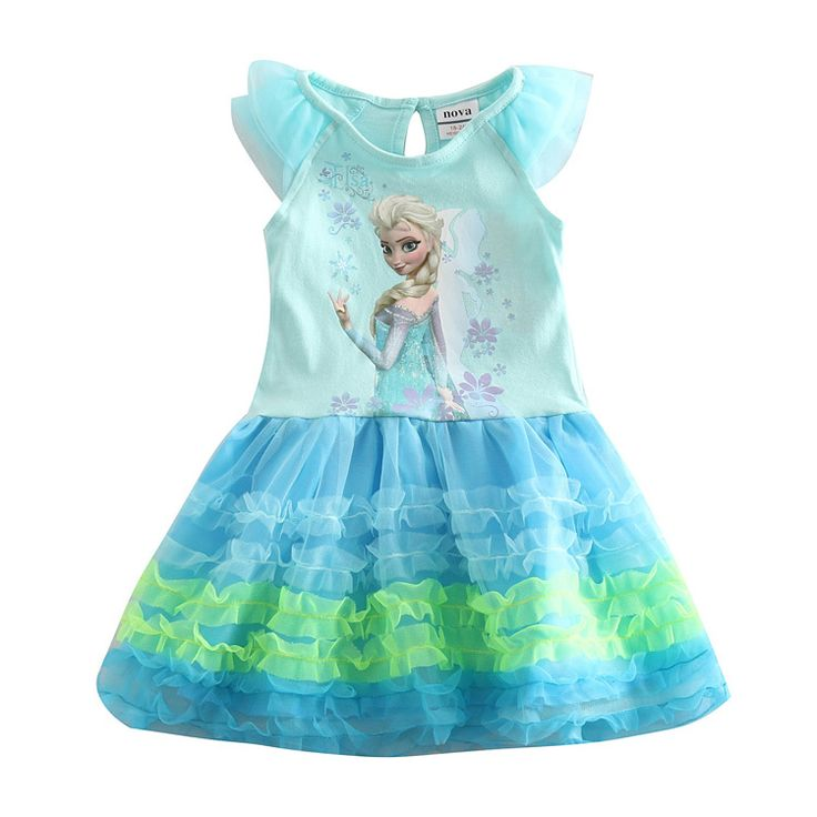 elsa anna dress girl dresses elsa  for girl princess party  lace dress summer style kids clothes Nova baby children clothing