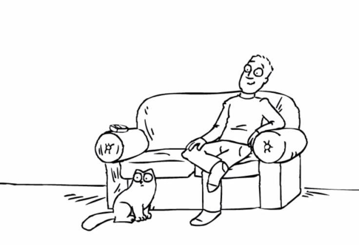 El gato está delante del sofá.