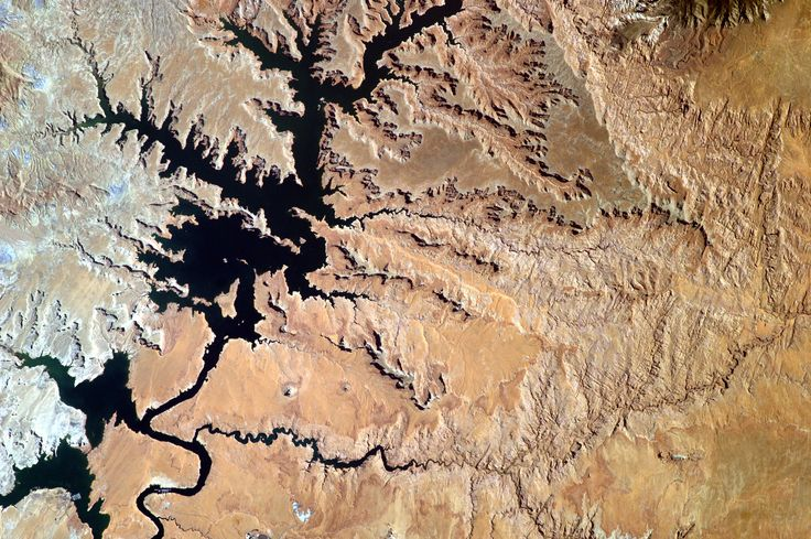Lake Powell From the Space Station's EarthKAM The remotely controlled Sally Ride EarthKAM aboard the International Space Station acquired this photograph on July 14 2016 as the orbiting laboratory flew over Lake Powell and the border of Utah and Arizona. Located on the Colorado River Lake Powell is the second largest artificial reservoir in the United States. August 16 2016