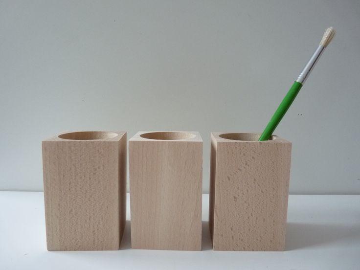 Set of 3 wooden pencil holders , wooden desk organizers, wooden square pencil holders, unfinished crayons holder, decoupage, unfinished wood