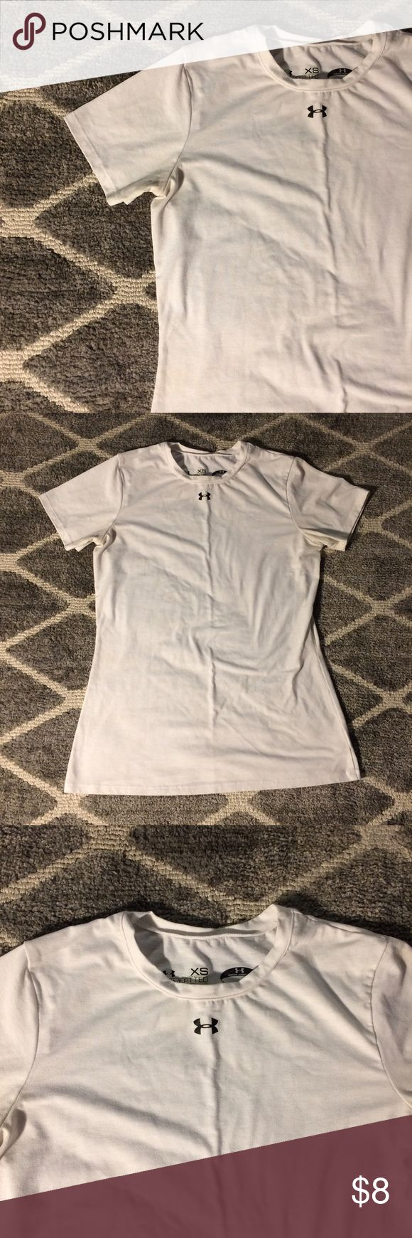 "White Under Armour T-Shirt White Under Armour semi-fitted ""Heat Gear"" workout U-neck t-shirt. Get this workout essential from me for cheap! :) Under Armour Tops Muscle Tees"