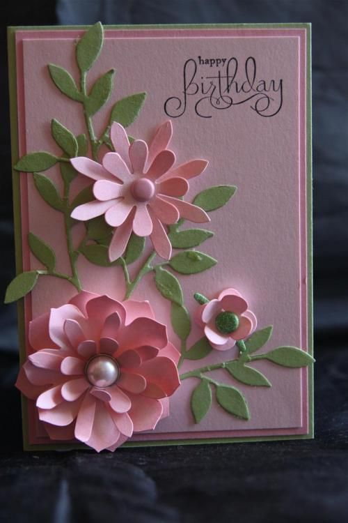 Flower bouquet beautiful pink die cut flowers with light green leaves makes a lovely boquet on this card...