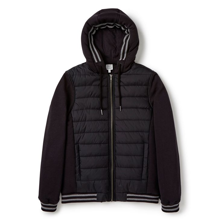 This hooded jacket comes with a contrast woven body and knitted sleeves. They