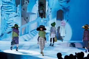 The set for Marc Jacobs' fall 2012 show during Mercedes-Benz Fashion Week was inspired by Puritans and Pilgrims, with decaying multilayered grottoes made of Luan plywood composing the bulk of the 80- by 60-foot structure.