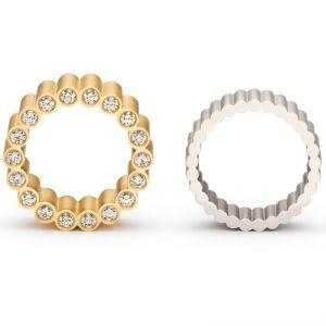 Niessing Forum. »Ein Ring aus schlanken Säulen: Diamanten lassen sie wie von innen heraus leuchten. Das Forum, der antike Versammlungsort, steht für Austausch und Kommunikation.